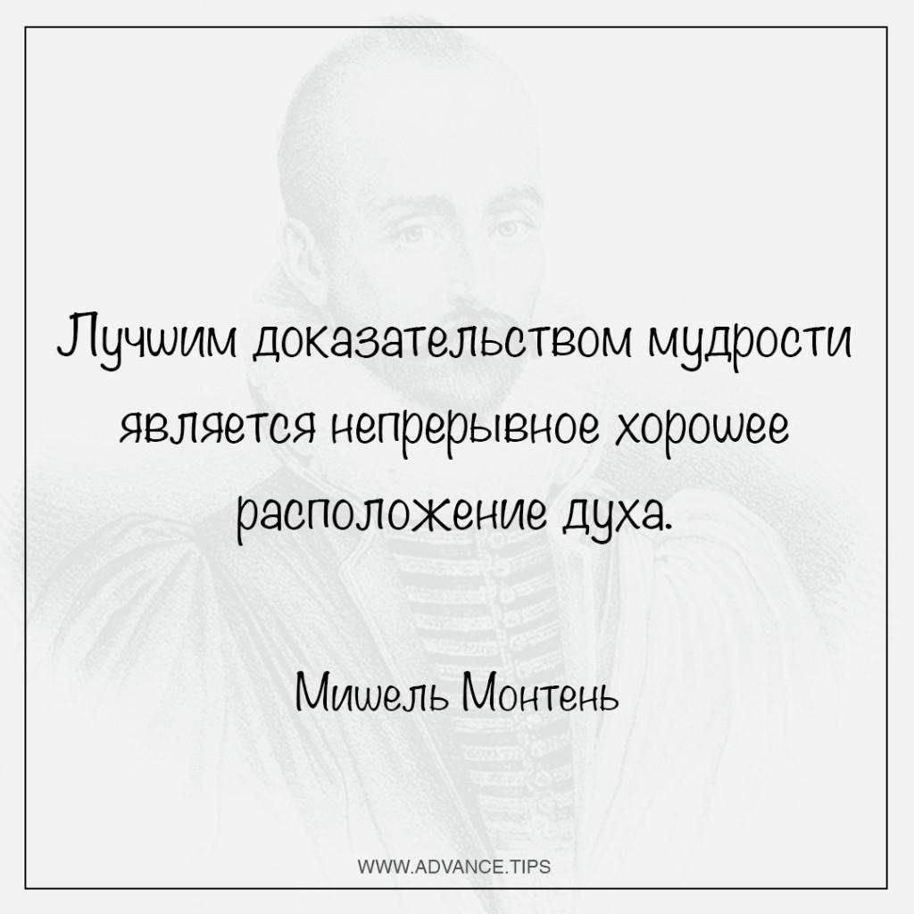 Лучшим доказательством мудрости является непрерывное хорошее расположение духа. - Мишель Монтень