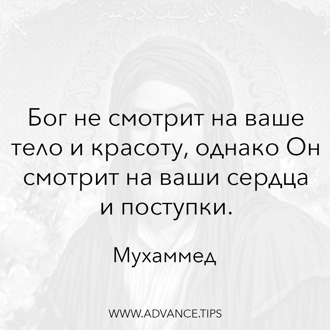 Бог не смотрит на ваше тело и красоту, однако Он смотрит на ваши сердца и поступки. - Пророк Мухаммед - 10 Мудрых Мыслей.