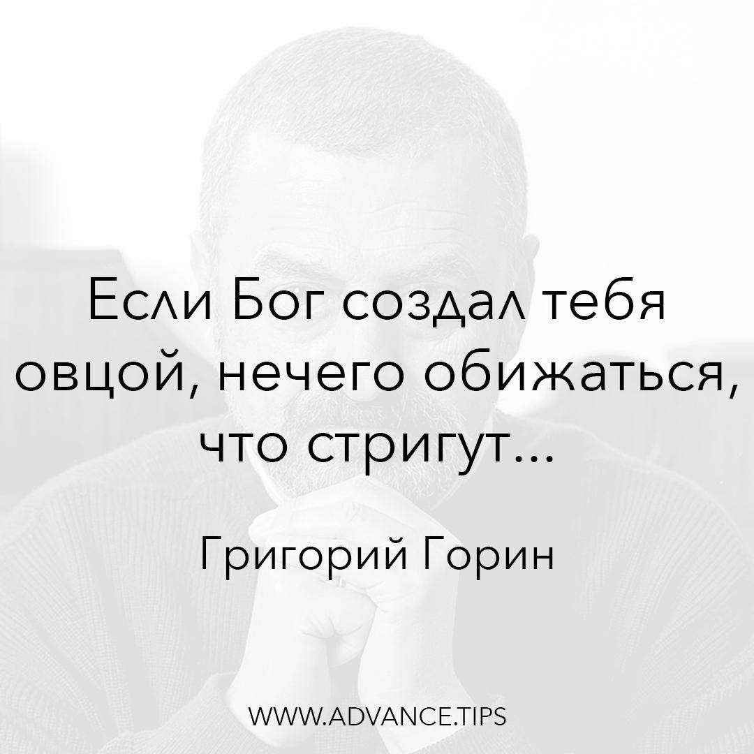 Если Бог создал тебя овцой, нечего обижаться, что стригут... - Григорий Горин - 10 Мудрых Мыслей.