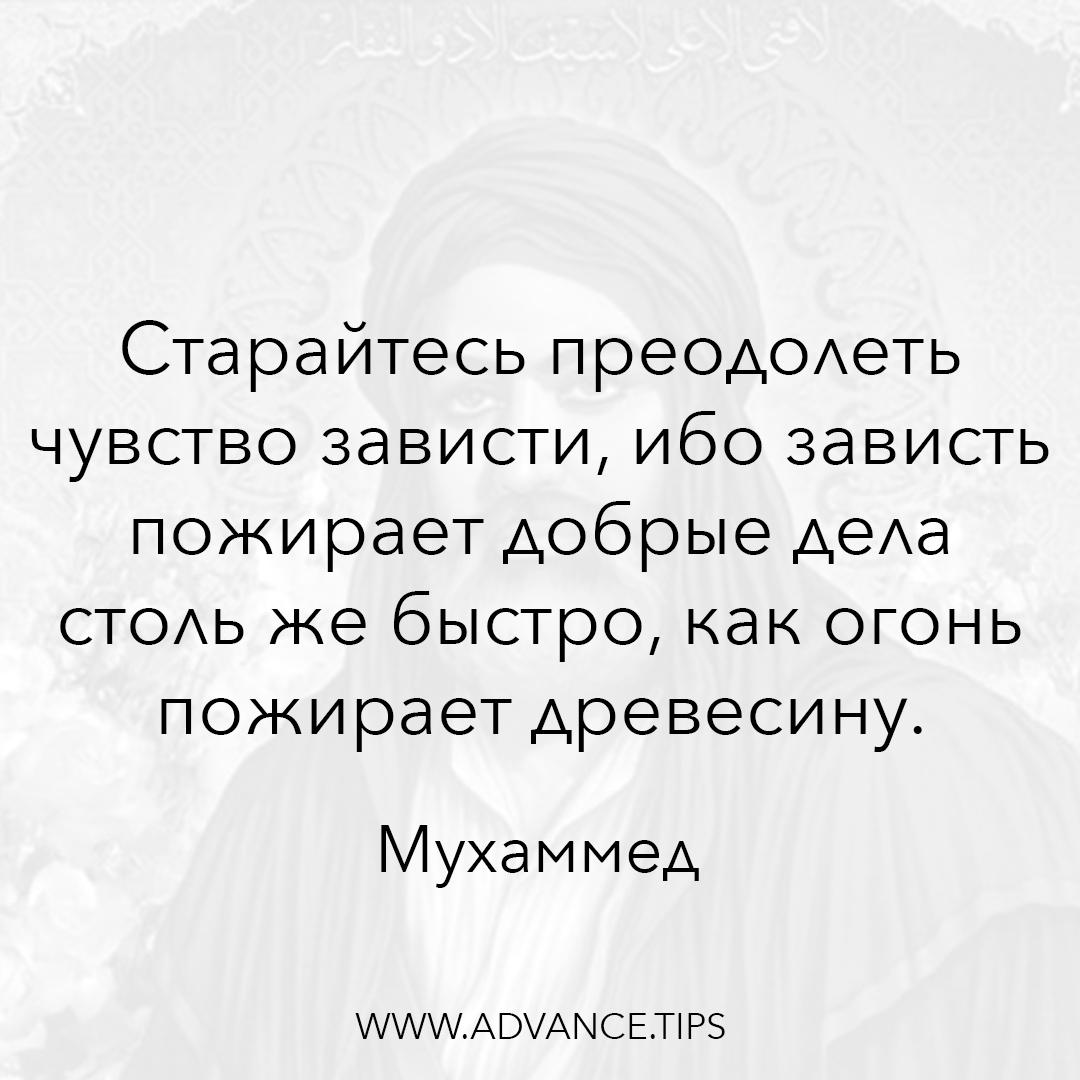 Старайтесь преодолеть чувство зависти, ибо зависть пожирает добрые дела столь же быстро, как огонь пожирает древесину. - Пророк Мухаммед - 10 Мудрых Мыслей.