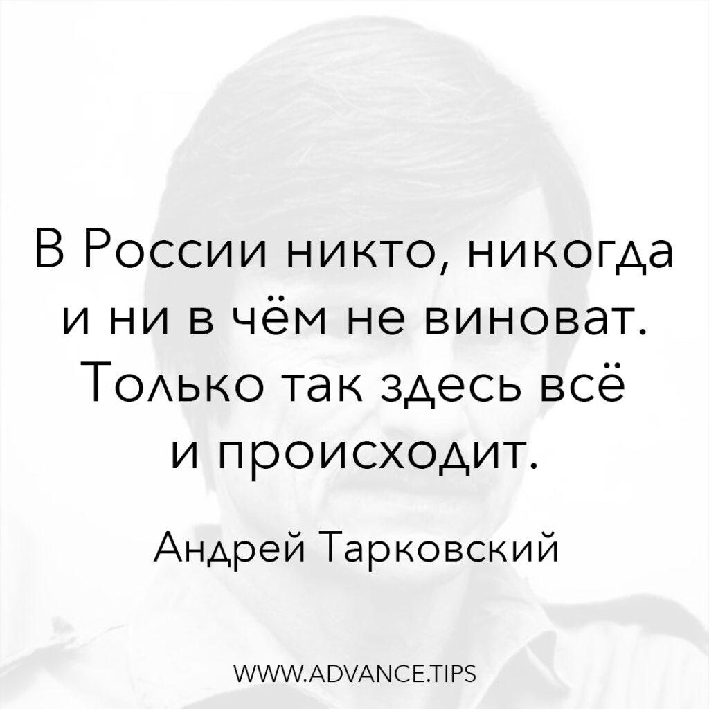 В России никто, никогда и ни в чём не виноват. Только так здесь всё и происходит. - Андрей Тарковский - 10 Мудрых Мыслей.