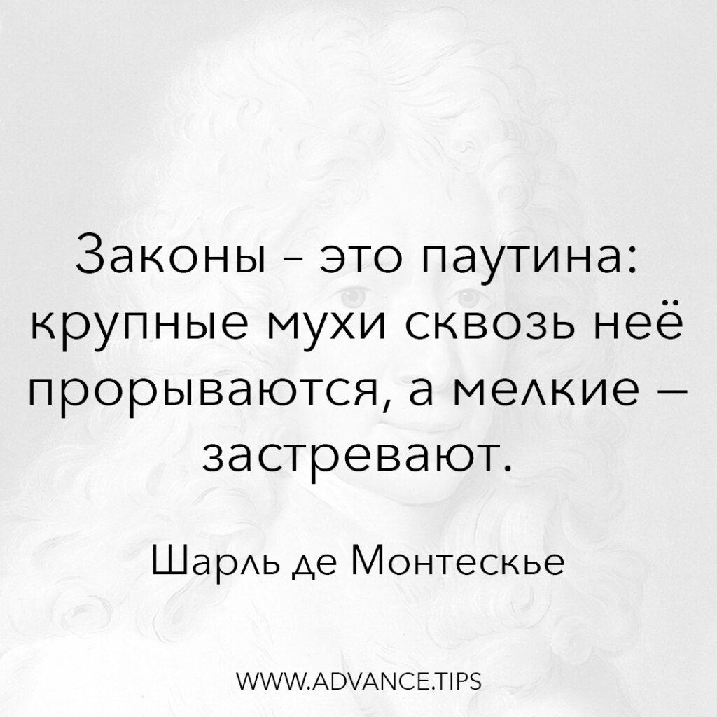 Законы - это паутина: крупные мухи сквозь неё прорываются, а мелкие - застревают. - Шарль де Монтескье - 10 Мудрых Мыслей.
