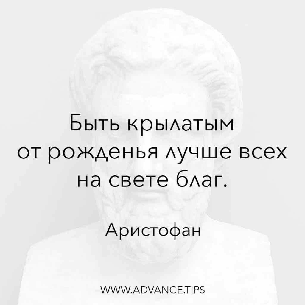 Быть крылатым от рожденья лучше всех на свете благ. - Аристофан - 10 Мудрых Мыслей.