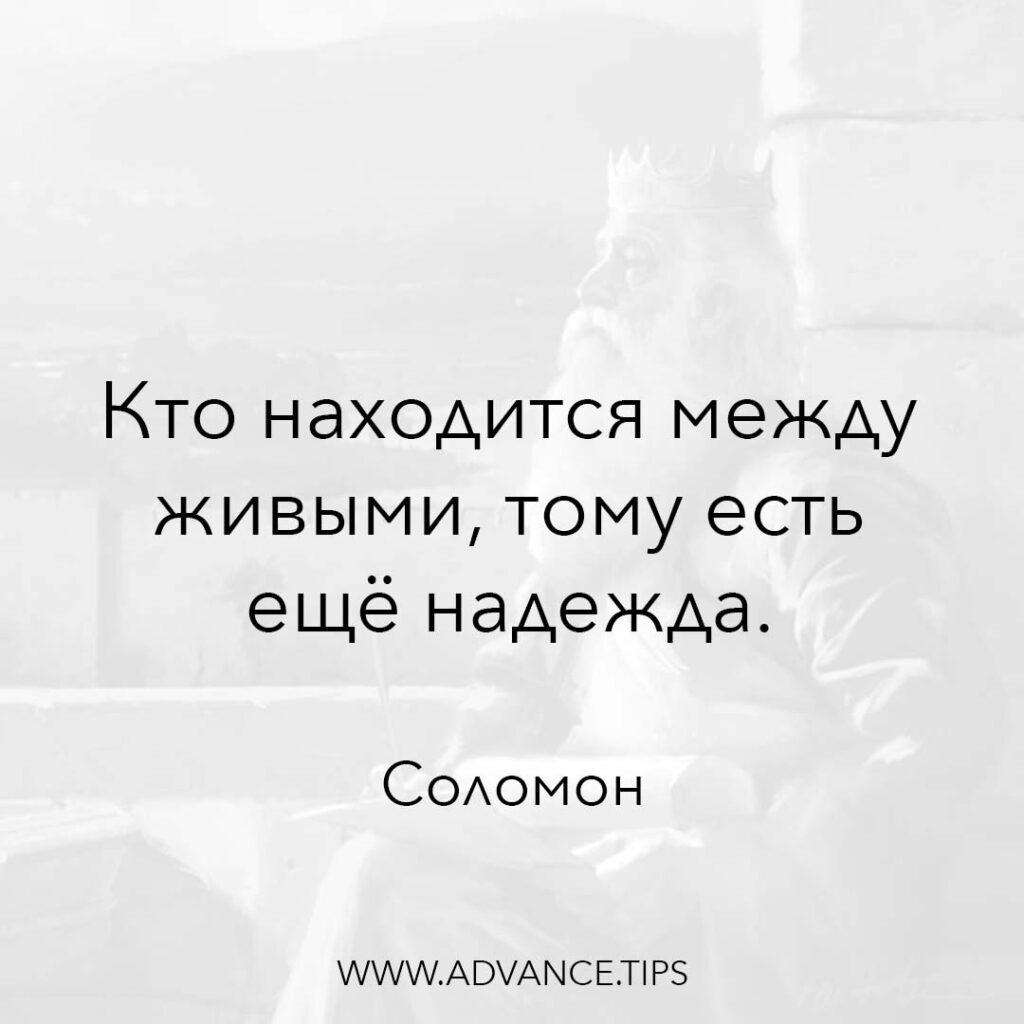 Кто находится между живыми, тому есть ещё надежда. - Царь Соломон - 10 Мудрых Мыслей.