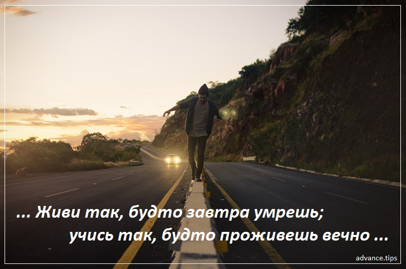 Живи так, будто завтра умрешь; учись так, будто проживешь вечно