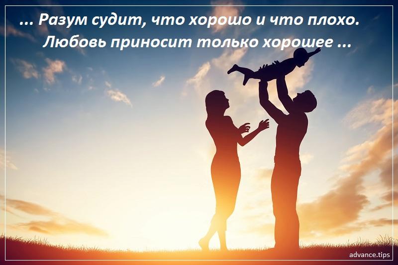 Разум судит, что хорошо и что плохо. Любовь приносит только хорошее