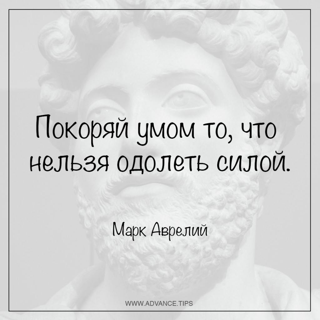 Покоряй умом то, что нельзя одолеть силой. - Марк Аврелий