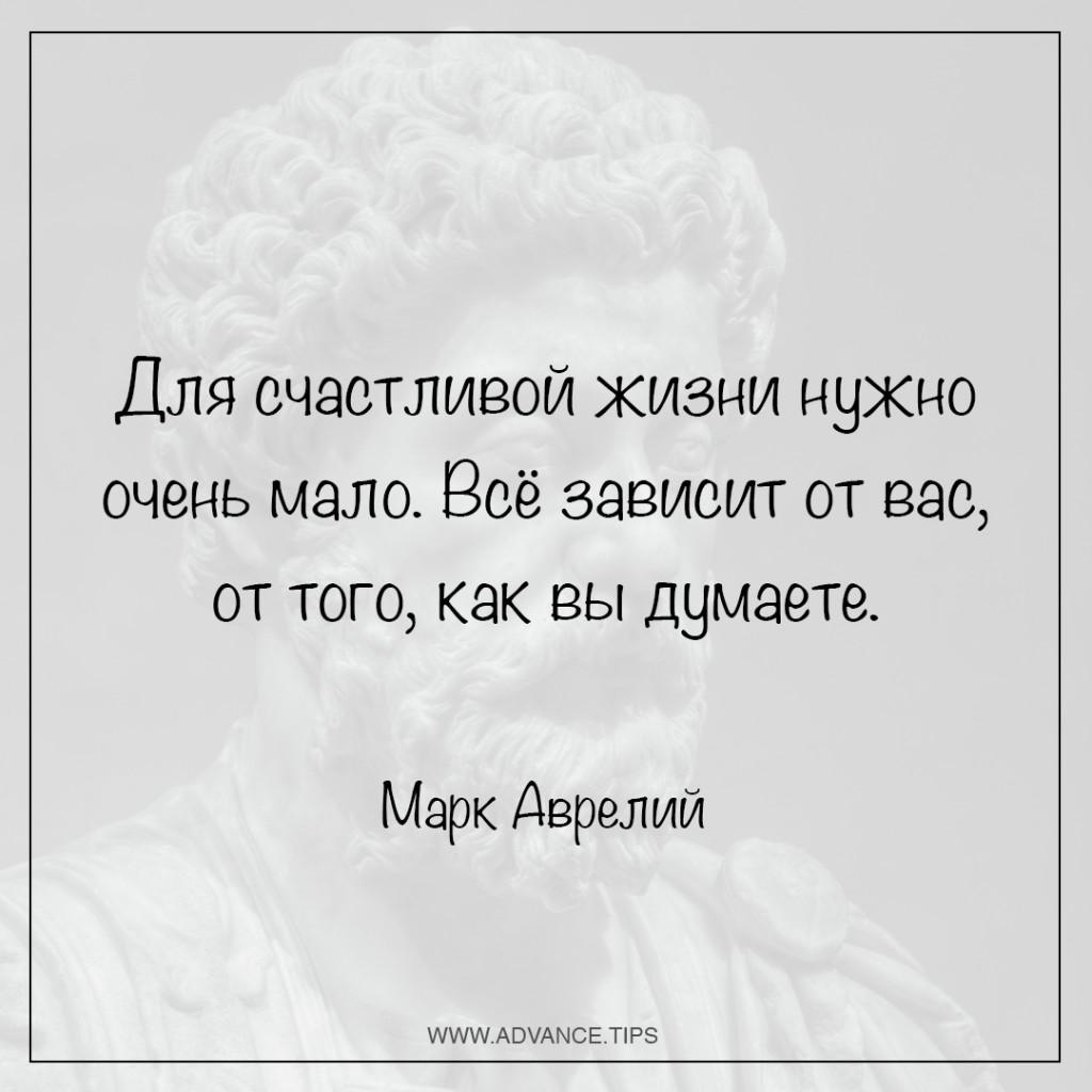 Для счастливой жизни нужно очень мало. Всё зависит от вас, от того, как вы думаете. - Марк Аврелий