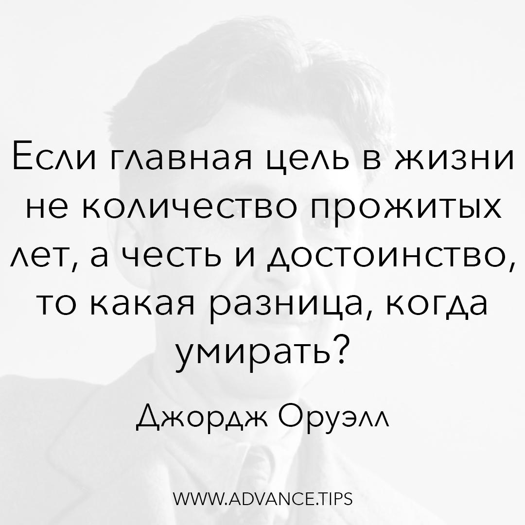 Если главная цель в жизни не количество прожитых лет, а честь и достоинство, то какая разница, когда умирать? - Джордж Оруэлл, 10 Мудрых Мыслей.