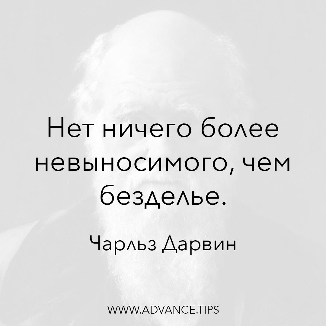 Нет ничего более невыносимого, чем безделье. - Чарльз Дарвин - 10 Мудрых Мыслей.